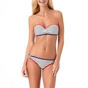 Arizona Americana Stripe Bandeau Swimsuit Top or Keyhole Hipster-Juniors