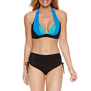 Pure Paradise® Bra Sized Halter Swimsuit Top or Adjustable Side Hipster