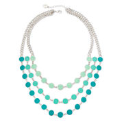 Liz Claiborne® Blue Bead Silver-Tone 3-Row Statement Necklace