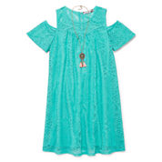Speechless Short Sleeve Cold Shoulder Sleeve Dress Set - Big Kid Girls