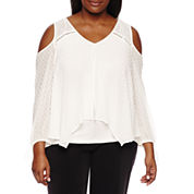 by&by Long Sleeve V Neck Woven Blouse-Juniors Plus