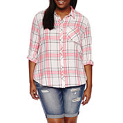 Arizona Long-Sleeve Boyfriend Plaid Shirt-Juniors Plus