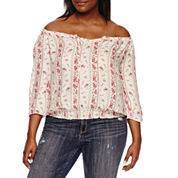Arizona Long Sleeve Crepe Blouse-Juniors Plus