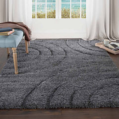 Cambridge Home Sculptured Circles Shag Rectangular Rugs
