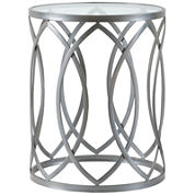 Madison Park Michelle Metal Eyelet Accent Drum Console Table