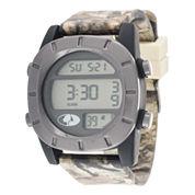 Mossy Oak® Mens Gray Bezel Camouflage Silicone Strap Sport Watch