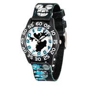 Disney Mickey Mouse Boys Black Strap Watch-Wds000125