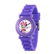 Disney Minnie Mouse Girls Purple Strap Watch-Wds000137