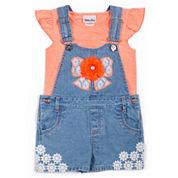 Little Lass 2-pc. Short Sleeve Shortall Set-Toddler