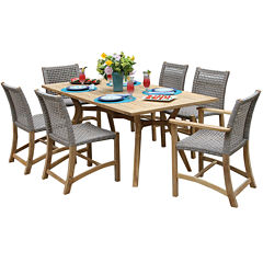 Outdoor Interiors 7 piece Nautical Teak Dining setwith teak and wicker chairs