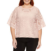 Worthington® Short Sleeve Lace Blouse - Plus