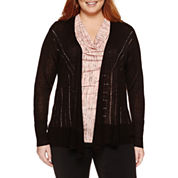 Worthington Long Sleeve Cardigan-Plus