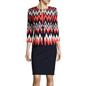 Danny & Nicole® 3/4-Sleeve Chevron Print Jacket Dress