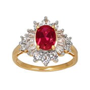 Lab-Created Ruby and White Sapphire Starburst Ring