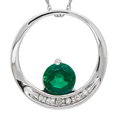 Lab-Created Emerald and Diamond-Accent Circle 14K White Gold Pendant Necklace