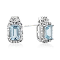 Genuine Aquamarine and Lab-Created White Sapphire Sterling Silver Earrings
