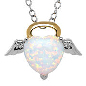 Heart-Shaped Lab-Created Opal and Diamond Accent Angel Pendant