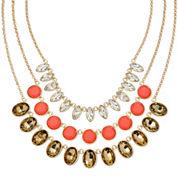 Monet® Orange Stone and Crystal Gold-Tone 3-Row Necklace