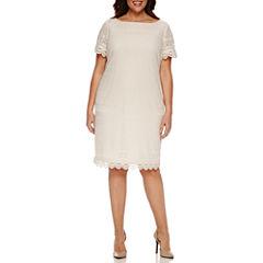 London Times Short Sleeve Lace Sheath Dress-Plus