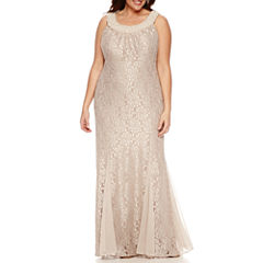R & M Richards Sleeveless Beaded Lace Evening Gown-Plus