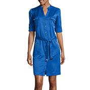 Sharagano ¾-Sleeve Snap-Front Shirt Dress