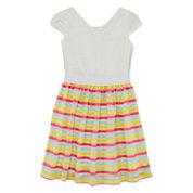 Lavender By Us Angels Lace Striped Dress - Girls 7-16