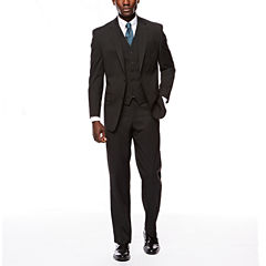Izod Stretch Black Striped Suit Separate-Classic Fit