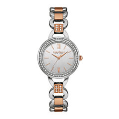 Caravelle New York® Womens Crystal-Accent Open Link Two-Tone Stainless Steel Bracelet Watch 45L157