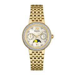 Bulova® Diamonds Womens Diamond-Accent Moon Phase Gold-Tone Stainless Steel Bracelet Watch 98R224