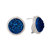 LIMITED QUANTITIES  Blue Drusy Agate Sterling Silver Button Earrings