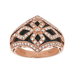 LIMITED QUANTITIES  Genuine Onyx and 3/8 CT. T.W. Diamond 14K Rose Gold Dome Ring