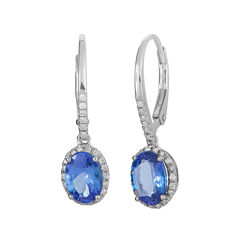 LIMITED QUANTITIES  Genuine Tanzanite and 1/5 CT. T.W. Diamond White Gold Earrings