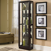Chocolate Cherry Finish Curio Cabinet
