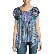 One World Apparel Short Sleeve Solid Peasant Top