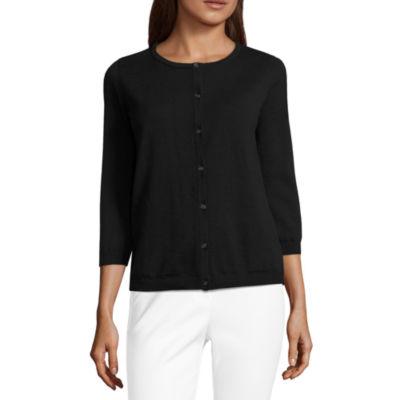 Liz Claiborne 3/4 Sleeve Lace Back Button,Front Cardigan