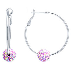 Sparkle Allure Multi Color Crystal Silver Over Brass Hoop Earrings