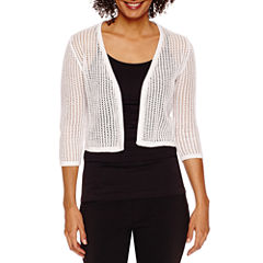 Be by CHETTA B 3/4 Sleeve Open Work Shrug