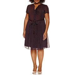Msk Short Sleeve Tie Waist Shirt Dress-Plus