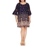 Luxology 3/4 Crochet Insert Sleeve Sheath Dress-Plus