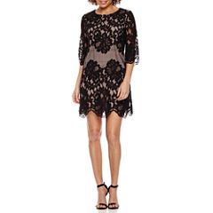 Ronni Nicole 3/4 Sleeve Lace Shift Dress-Petites