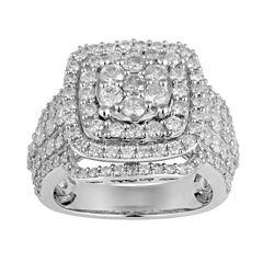 Womens 3 CT. T.W. Round White Diamond 10K Gold Engagement Ring
