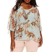 Boutique + Long Sleeve Scoop Neck Rayon Blouse-Plus
