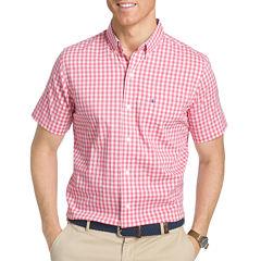 IZOD Advantage Performance Short Sleeve Checked Button-Front Shirt