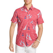 IZOD Dockside Chambray Printed Button-Front Shirt