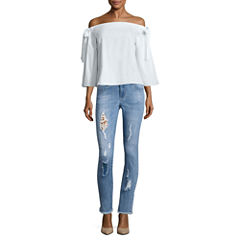 i jeans by Buffalo Bow Sleeve Top or Destructed Jeans with Lace Insert