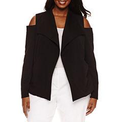 Bisou Bisou Long Sleeve Cold Shoulder Textured Blazer-Plus
