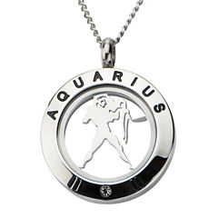 Zodiac Cubic Zirconia Stainless Steel Locket Pendant Necklace