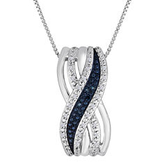 1/10 CT. T.W. White and Color-Enhanced Blue Diamond Crossover Pendant Necklace