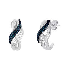 1/3 CT. T.W. White and Color-Enhanced Blue Diamond Swirl Earrings