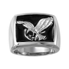 Mens Two-Tone Stainless Steel Black Enamel Eagle Ring